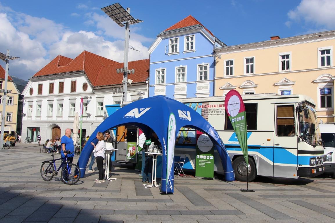 Der Gesundheitsbus am Hauptplatz in Leoben – Genusstag Roadshow - Gemeinsam GESUND im Mürztal
