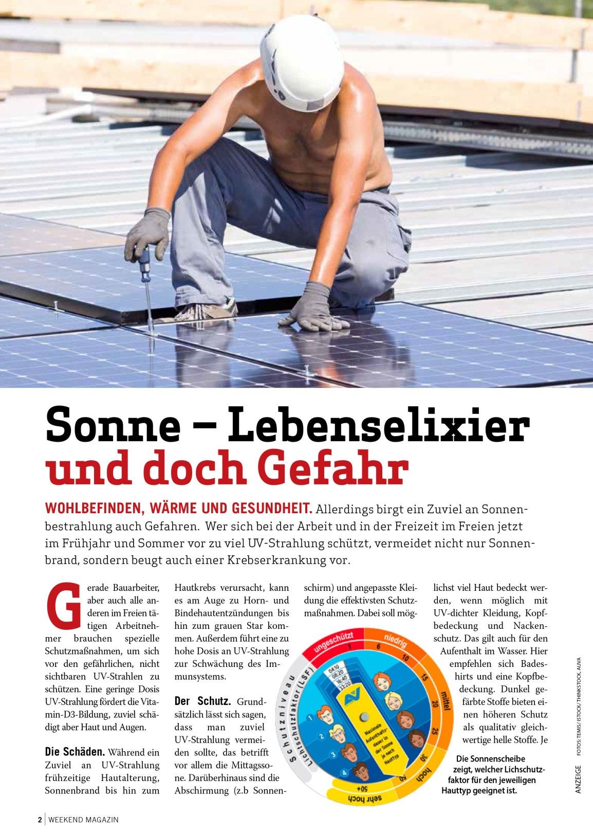 Sonne –Lebenselixier und doch Gefahr – Weekend Magazin 2019